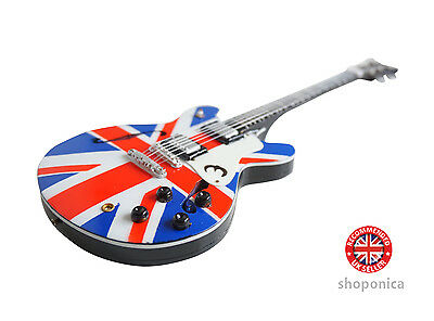 Union Jack Design Wooden Miniature  Mini Guitar Replica