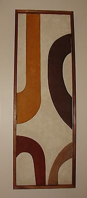 Vintage MCM Suede Abstract Sculpture Wall Picture Original Art Signed AWESOME!