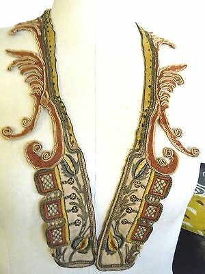 Antique European Collar hand made and embroidered &METALLIC THREAD & tiny trims