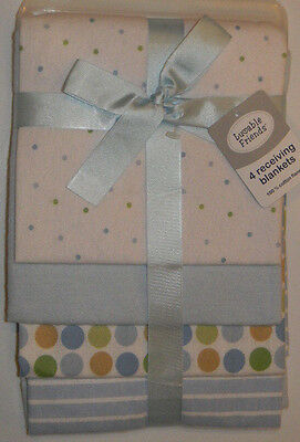 New Luvable Friends White Blue Dots Circles Baby Boy Flannel Receiving Blankets