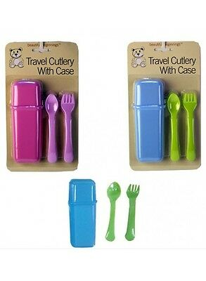 3 Piece Baby Toddler Travel Cutlery With Case Spoon Fork