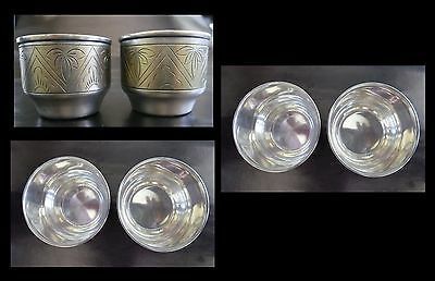 Set of 2 Silver,Gold Plated,Engraving,Wine,Vodka Cups,Russia,Mid 20th Century