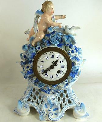 Antique Continental French German Porcelain Clock Cherub Flowers 8 Day Movement
