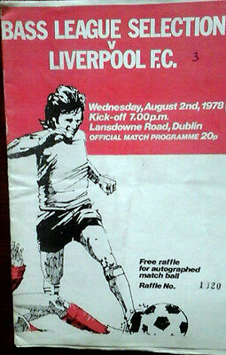 Bass League Of Ireland Select V Liverpool 2/8/1978 Friendly
