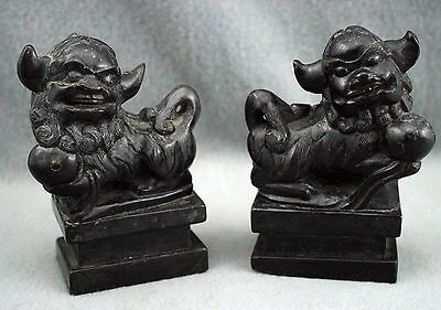 Pair Antique Vintage Chinese Hand Carved Black Stone Foo Dogs