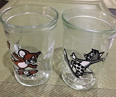 TWO 1990 Welch's GLASS JELLY JARS TOM AND JERRY VINTAGE