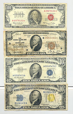$130 FV in $10 Silver Certificates Federal Reserve Notes and a $100 1966 US Note