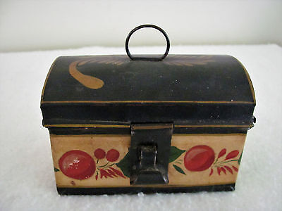 Wonderful Antique Small Painted Toleware Tin Dome Top Box