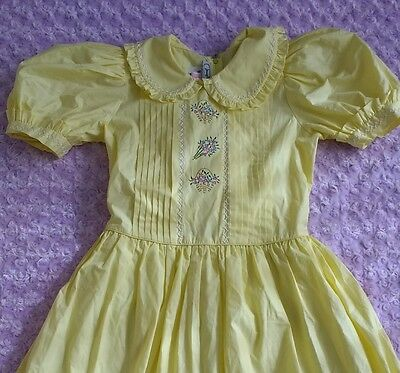 Vintage Girls Tea Party Easter Dress Yellow Floral Embroidered Crinoline EUC 12