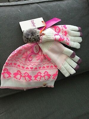 Ted Baker designer girls fair isle knit hat & gloves set