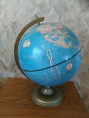 "Vintage Crams 12"" DIA. Imperial World Globe w/ Metal Stand 17"" TALL"