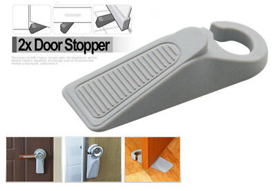 2 x Large Rubber Door Stopper Wedge Door Jam Catcher Block Home Office