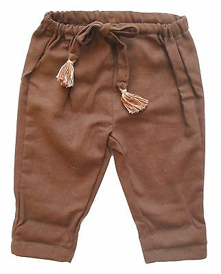 Bohemian Baby Kids Fashion Clothing Brown Linen Trousers Handmade Personalised
