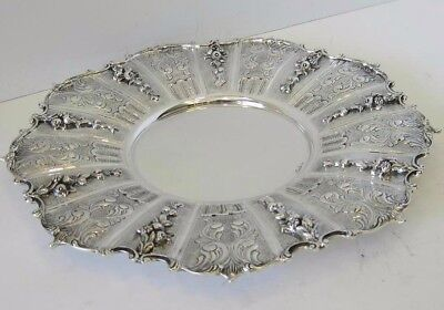 925 Sterling Silver Hand Chased Swirl Design & Appliques Round Tray Ec-148-P