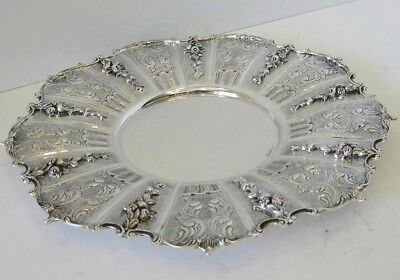 Fine 925 Sterling Silver Hand Chased Swirl Ornate Appliques Round Tray Ec-148-P