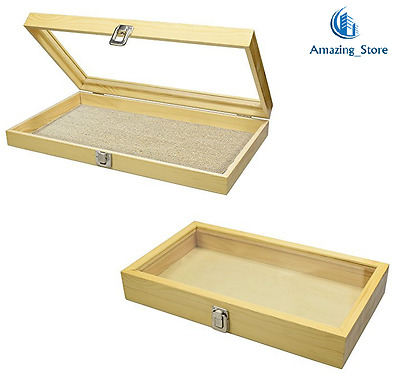 Natural Wood TEMPERED Glass Top Lid Metal Clip Jewelry Display Large Case New
