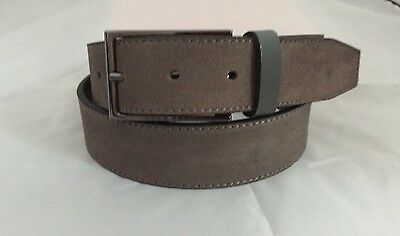 "Mens Hugo Boss Belt Suede 100% Leather Size/Waist 32"" Dark Grey 50286231"