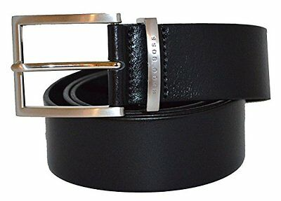 Men's Hugo Boss 100% Smooth Leather Belt Brushed Silver Buckle 'Buddy' Black