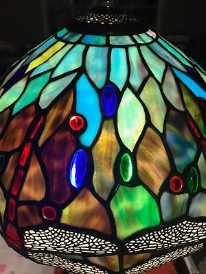Vintage Tiffany Style Dragonfly stained glass lamp shade, circa 1920-1930's