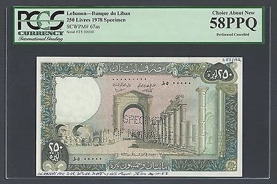 Lebanon 250 Lira 1-2-1978 P67as Specimen Perforated About Uncirculated
