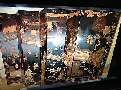 19th Cent. Hand carved/lacquer antique Chinese Coromandel screen 8 Panel 18x84