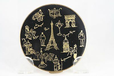 Vtg 50s Stratton Powder Compact Paris Eiffel Tower L Arc Black Enamel Gold Tone