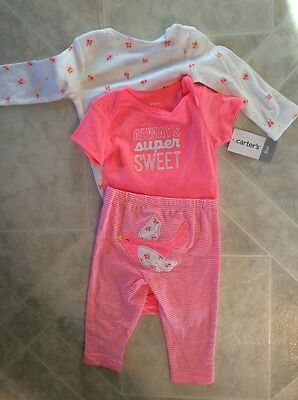 Infant Girls Outfit 3 Piece Carter's Brand 6 Months New