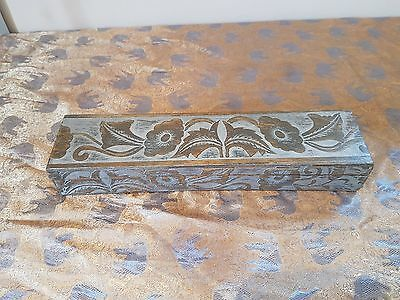 Vintage Look Engraved Carved Wooden Wood Box Long Thin Light Floral