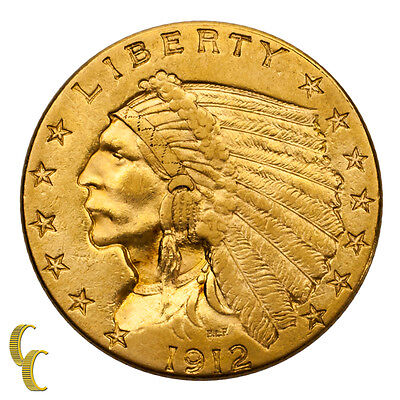 1912 $2.50 Gold Quarter Eagle Indian Head About Uncirculated Condition