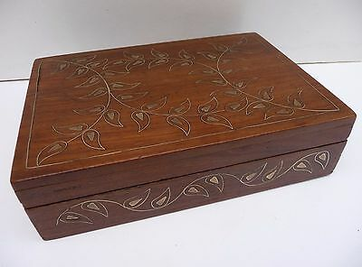 Vintage Rosewood & Inlaid Brass Wooden box