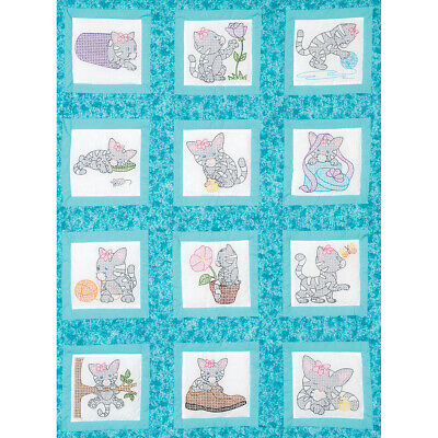 "Jack Dempsey Themed Stamped White Quilt Blocks 9""X9"" 12/Pkg-Kittens"