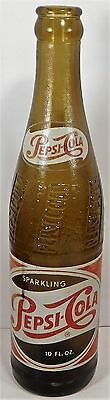 1950's AMBER ACL PAINTED LABEL SODA - PEPSI-COLA 10 oz.  NEW YORK,N.Y.