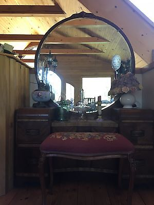 Antique Dressing Table with Needlepoint Bench