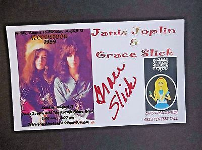 """Grace Slick (Pose With Janis Joplin) """"Woodstock"""" Autographed 3x5 Index Card"""