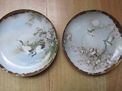 mint/Meiji JApanese/blue egg shell /rimpa pair of plates, chargers, 6 inch diam