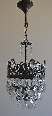Vintage Antique Mini French Basket Style Brass Crystals Chandelier Ceiling Lamp