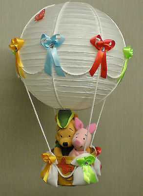 WINNIE THE POOH AND PIGLET in Hot Air Balloon Lamp-Light Shade nursery gift