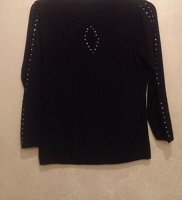 Vintage 70s Retro Black Knitted Sweater Jumper 3/4 Sleeve Top Bling Size S/M
