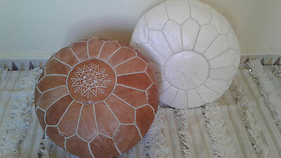 Pair (2) NEW Luxury Moroccan Leather Ottoman Pouffe Pouf Footstool In White+Tan