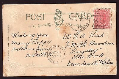 1906 New South Wales postmark - THE ROCK - on postcard from Prahran Victoria