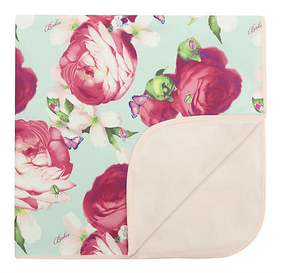 New Ted Baker Baby Girls Blue Rose Floral Lotus Butterfly Printed Blanket Gift