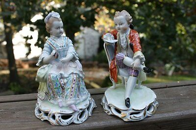 Antique Carl Thieme Potschappel Dresden German Porcelain Figurines Man & Woman