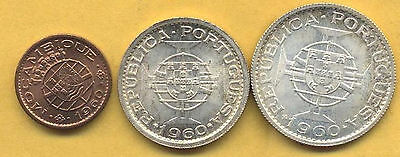 Very Nice Mozambique Set Of 3 High Grade Uncirculated Coins.
