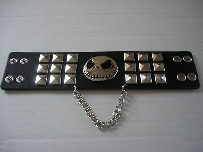 "Disney Nightmare Before Christmas-Jack Skellington Wrist Studded Cuff 2"" NEW!"