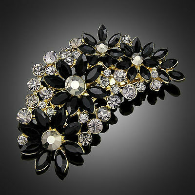 Stunning Gold Plated  Black Beaded Crystal Vintage Inspired Statement Brooch