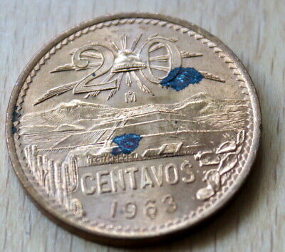1963 Mexico 20 Centavos Pyramid of the Sun Unc.