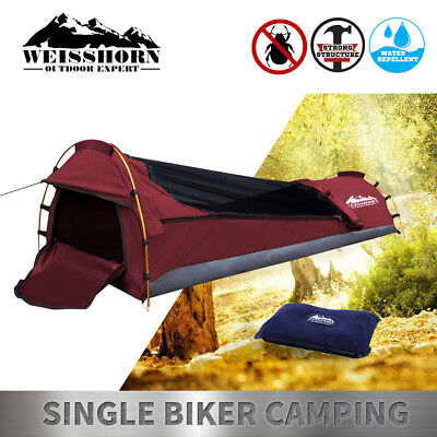 Single Biker Camping Swag Canvas Standing Dome Tent Bag Red