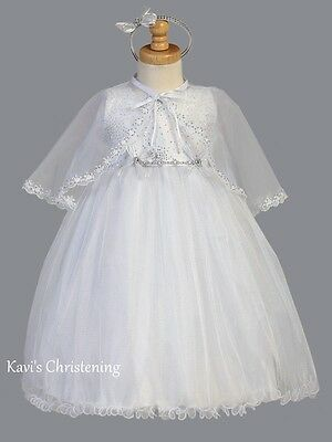 Girls White Christening Baptism Dress Sparkle Organza Cape & Headband 2T-6 2489
