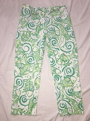 Lilly Pulitzer White & Green Fish Print Capri Pants Size 8