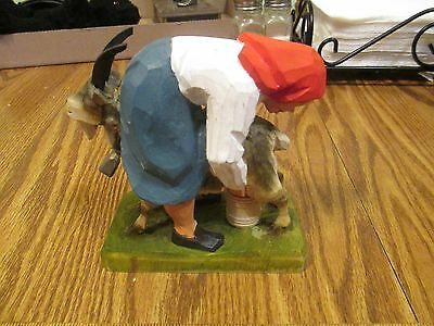 Henning  Wood Norway Hand Carved Girl Milking Goat